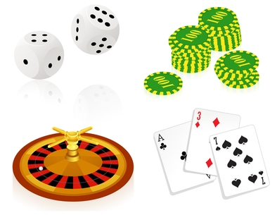 Casino Objects - dice, chips, roulette wheel, cards
